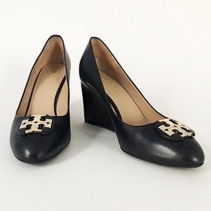 Tory Burch Black Luna 85mm Calf Leather Wedges